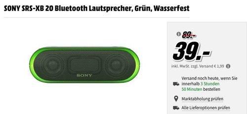 SONY SRS-XB 20 Bluetooth Lautsprecher grün - jetzt 31% billiger
