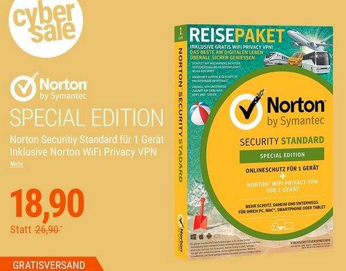 Symantec Norton Standard + Norton WIFI Privacy, 1 Gerät 1 Jahr - Special Edition - jetzt 30% billiger