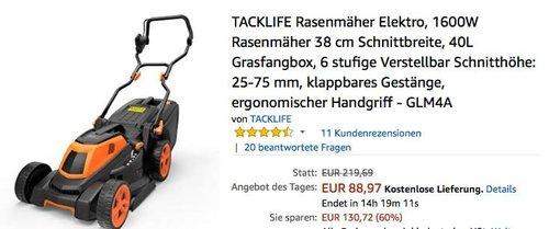 TACKLIFE Rasenmäher Elektro, 1600W - jetzt 24% billiger