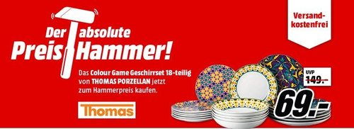 THOMAS PORZELLAN Colour Game Tellerset 18-teilig - jetzt 32% billiger