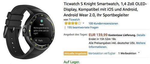 Ticwatch S Knight Smartwatch - jetzt 17% billiger