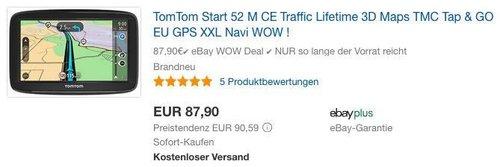 TomTom Start 52 M CE Traffic Navigationssystem - jetzt 12% billiger