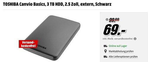 TOSHIBA Canvio Basics, 3 TB HDD externe Festplatte - jetzt 24% billiger