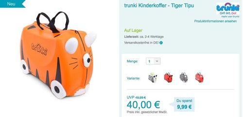 trunki Kinderkoffer - Tiger Tipu - jetzt 11% billiger
