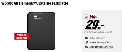 WD 500 GB Elements USB 3.0 Externe Festplatte - jetzt 36% billiger