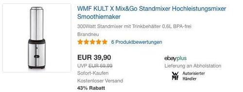 WMF KULT X Mix und Go Keep Cool Smoothie Mini Mixer - jetzt 23% billiger