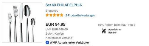 WMF Philadelphia Besteckset, 60-teilig - jetzt 10% billiger