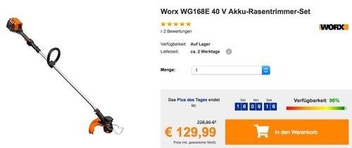 Worx WG168E 40 V Akku-Rasentrimmer-Set - jetzt 18% billiger