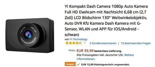 YI Kompakt Dash Camera 1080p Auto Kamera Full HD Dashcam mit Nachtsicht - jetzt 30% billiger
