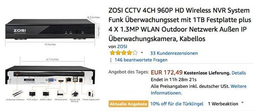 ZOSI CCTV 4CH 960P HD Wireless NVR System Funk Überwachungsset - jetzt 38% billiger