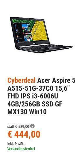 """Acer Aspire 5 A515-51G-37C0 Notebook (15,6"""" FHD IPS i3-6006U 4GB/256GB SSD GF MX130 Win10) - jetzt 16% billiger"""