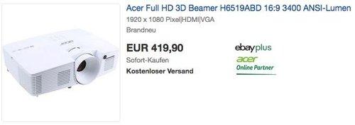 Acer Full HD 3D Beamer H6519ABD 3400 ANSI-Lumen - jetzt 14% billiger