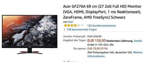 Acer GF276A 69 cm (27 Zoll Full HD) Monitor (VGA, HDMI, DisplayPort, 1 ms Reaktionszeit, ZeroFrame, AMD FreeSync) - jetzt 24% billiger