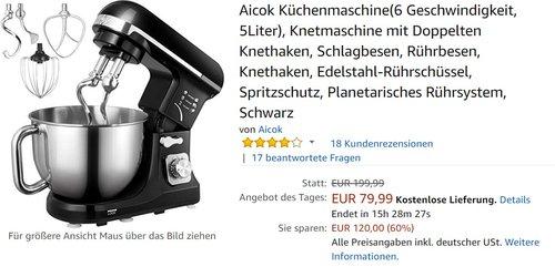 Aicok Küchenmaschine - jetzt 30% billiger