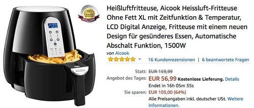 Aicook Heissluft-Fritteuse - jetzt 20% billiger