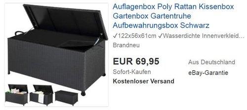 Auflagenbox Poly Rattan Kissenbox Gartenbox Gartentruhe Aufbewahrungsbox Schwarz - jetzt 13% billiger