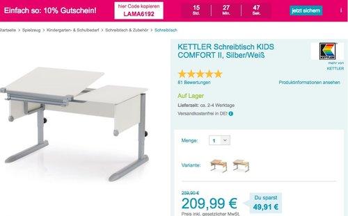 Babymarkt.de - 10% Rabatt auf fast alles: z.B. KETTLER Schreibtisch KIDS COMFORT II - jetzt 10% billiger