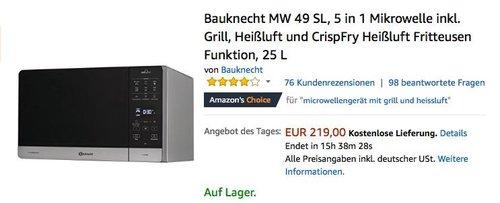 Bauknecht MW 49 SL, 5 in 1 Mikrowelle inkl. Grill - jetzt 11% billiger