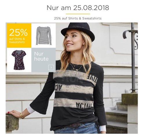 Baur.de 25 % Rabatt auf Damen Shirts & Sweatshirt am 25.08.18: z.B. KangaROOS Damen Fleecejacke - jetzt 21% billiger