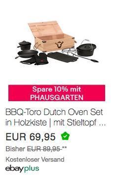 BBQ-Toro 8-teiliges Dutch Oven Set mit Holzkiste und viel Zubehör, bereits eingebrannt - jetzt 10% billiger