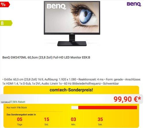 BenQ GW2470ML 60,5cm (23,8 Zoll) Full-HD LED Monitor - jetzt 17% billiger