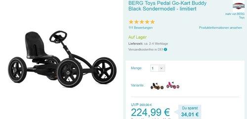 BERG Toys Pedal Go-Kart Buddy Black Sondermodell - limitiert - jetzt 11% billiger