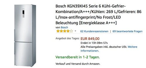 Bosch KGN39XI45 Serie 6 Kühl-Gefrier-Kombination, A+++, 201 cm hoch - jetzt 13% billiger