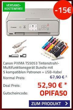 Canon PIXMA TS5053 Tintenstrahl-Multifunktionsgerät mit 5 kompatiblen Patronen + USB-Kabel - jetzt 22% billiger