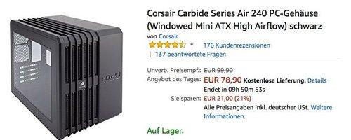 Corsair Carbide Series Air 240 PC-Gehäuse in Schwarz - jetzt 21% billiger
