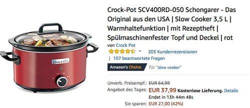 Crock-Pot SCV400RD-050 Schongarer - jetzt 34% billiger
