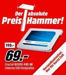 Crucial BX300 480GB interne SSD Festplatte, 2.5 Zoll, Silber/blau - jetzt 42% billiger
