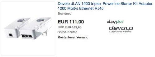 Devolo dLAN 1200 triple+ Powerline Starter Kit Adapter 1200 Mbit/s 3xEthernet RJ45 - jetzt 13% billiger