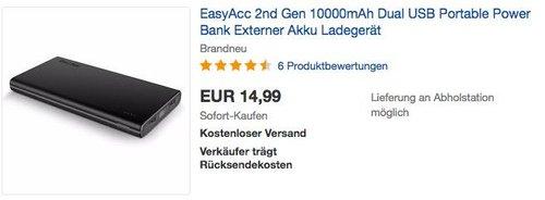 EasyAcc 2nd Gen 10000mAh Dual USB Portable Powerbank - jetzt 25% billiger