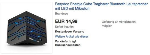 EasyAcc Energie Cube Tragbarer Bluetooth Lautsprecher mit LED Beleuchtung - jetzt 21% billiger