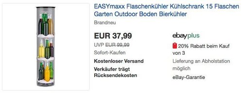 EASYmaxx Flaschenkühler Kühlschrank 15 Flaschen Garten Outdoor Boden Bierkühler - jetzt 22% billiger