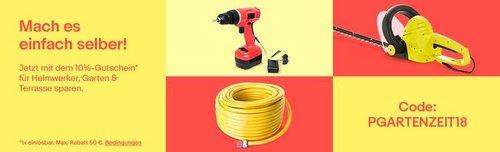 eBay 10% Gutschein für Heimwerker & Hobbygärtner: z.B. Bosch 36V Garten Pro Akku-Blasgerät GBL 860,  ohne Akku und Ladegerät - jetzt 10% billiger