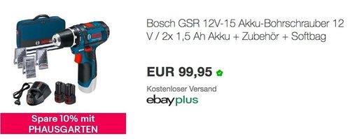 eBay - Aktion 10% Gutschein für Haus & Garten: z.B. Bosch GSR 12V-15 Akku-Bohrschrauber 12 V / 2x 1,5 Ah Akku + Zubehör + Softbag - jetzt 10% billiger