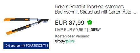 eBay - Aktion 10% Rabat auf ausgewählte Heimwerker & Hobbygärtner Artikel: z.B. Fiskars SmartFit Teleskop-Astschere - jetzt 10% billiger