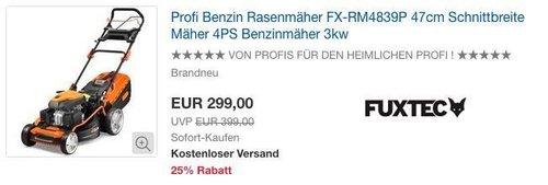 eBay FUXTEC Gartengeräte - Aktion: z.B. FUXTEC Profi Benzin Rasenmäher FX-RM4839P - jetzt 12% billiger