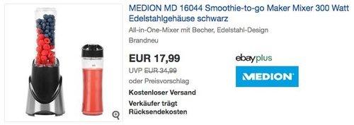 eBay Medion-Aktion: z.B. MEDION MD 16044 Smoothie-to-go Maker Mixer 300 Watt - jetzt 28% billiger