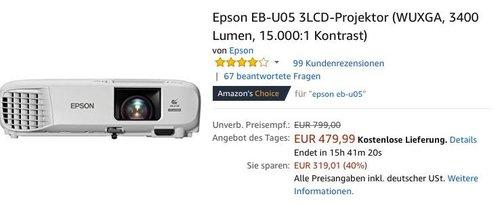 Epson EB-U05 3LCD-Projektor (WUXGA, 3400 Lumen, 15.000:1 Kontrast) - jetzt 15% billiger