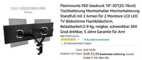 """Fleximounts F6D Gasdruck Monitorhalter mit 2 Armen für 2 Monitore 10""""-30 - jetzt 33% billiger"""