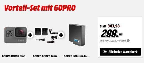 GOPRO HERO5 Black Action Cam inkl. Front- und Seiten-Helmhalterung und GOPRO Lithium-Ionen Akku - jetzt 13% billiger