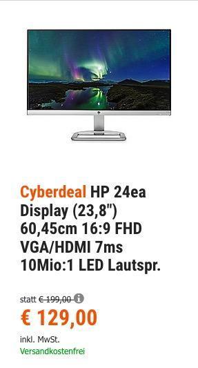 "HP 24ea (X6W26AA) IPS-Monitor 60,45 cm (23,8"" ) mit Lautsprecher - jetzt 24% billiger"