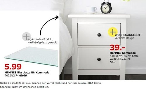 IKEA Berlin-Spandau HEMNES Kommode - jetzt 34% billiger