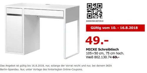 IKEA Berlin-Spandau MICKE Schreibtisch - jetzt 29% billiger