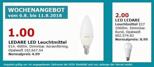 IKEA Bielefeld LEDARE LED Leuchtmittel,  E14, 400lm - jetzt 80% billiger