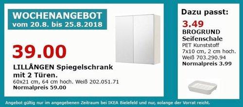 IKEA Bielefeld LILLANGEN Spiegelschrank mit 2 Türen - jetzt 34% billiger