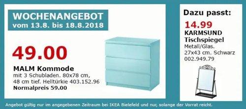 IKEA Bielefeld MALM Kommode mit 3 Schubladen, helltürkie - jetzt 17% billiger