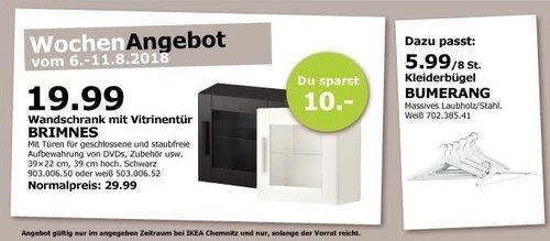 IKEA Chemnitz BRIMNES Wandschrank mit Vitrinentür - jetzt 33% billiger